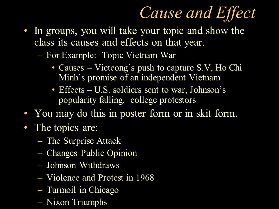 Cause and Effect In groups, you will take your topic and show the class its causes and effects on that year.