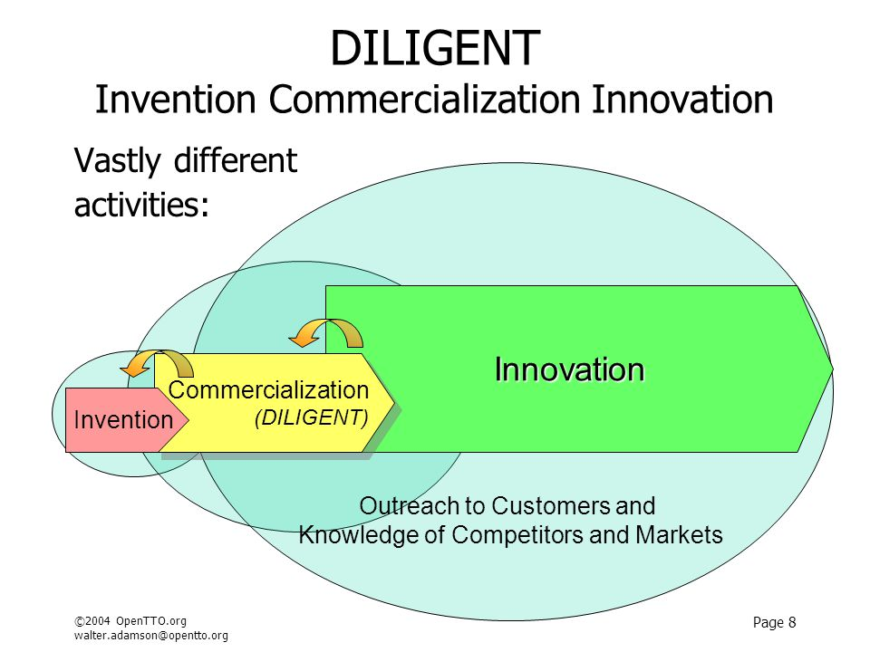 ©2004 OpenTTO.org walter.adamson@opentto.org Page 8 DILIGENT Invention Commercialization Innovation Vastly different activities: Outreach to Customers