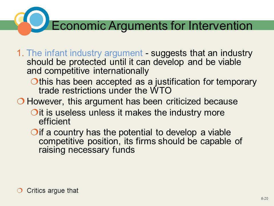 6-20 Economic Arguments for Intervention 1.