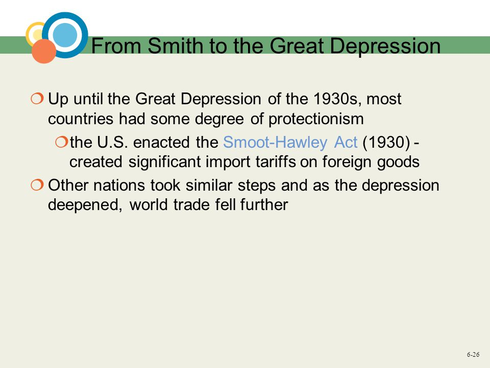 6-26 From Smith to the Great Depression  Up until the Great Depression of the 1930s, most countries had some degree of protectionism  the U.S.