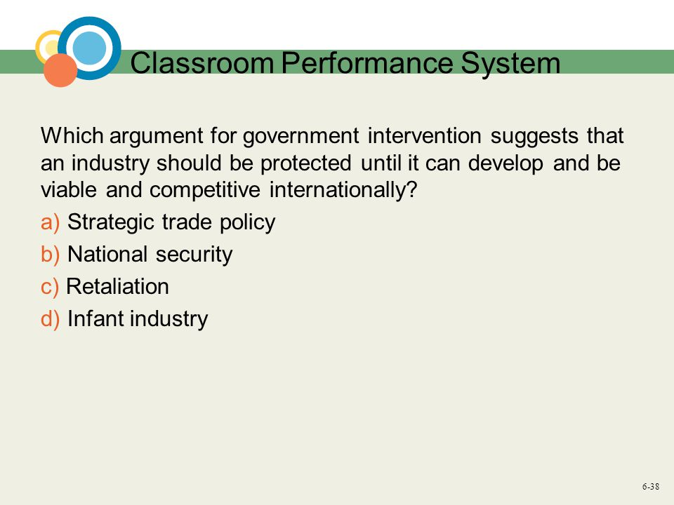 6-38 Classroom Performance System Which argument for government intervention suggests that an industry should be protected until it can develop and be viable and competitive internationally.
