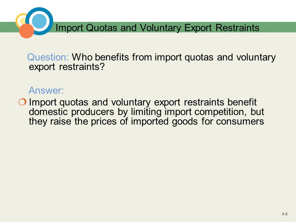 6-8 Import Quotas and Voluntary Export Restraints Question: Who benefits from import quotas and voluntary export restraints.