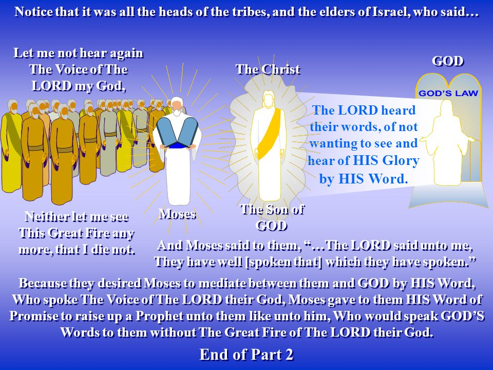 Notice that it was all the heads of the tribes, and the elders of Israel, who said… Because they desired Moses to mediate between them and GOD by HIS Word, Who spoke The Voice of The LORD their God, Moses gave to them HIS Word of Promise to raise up a Prophet unto them like unto him, Who would speak GOD'S Words to them without The Great Fire of The LORD their God.