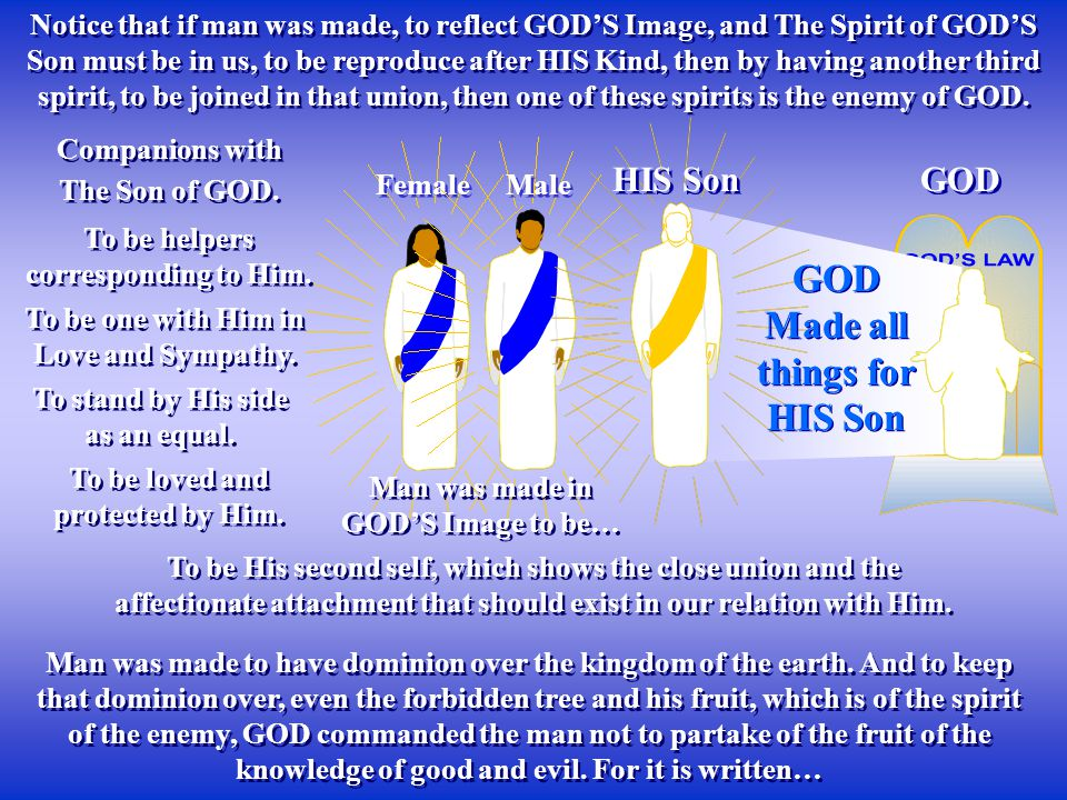 Female Notice that if man was made, to reflect GOD'S Image, and The Spirit of GOD'S Son must be in us, to be reproduce after HIS Kind, then by having another third spirit, to be joined in that union, then one of these spirits is the enemy of GOD.