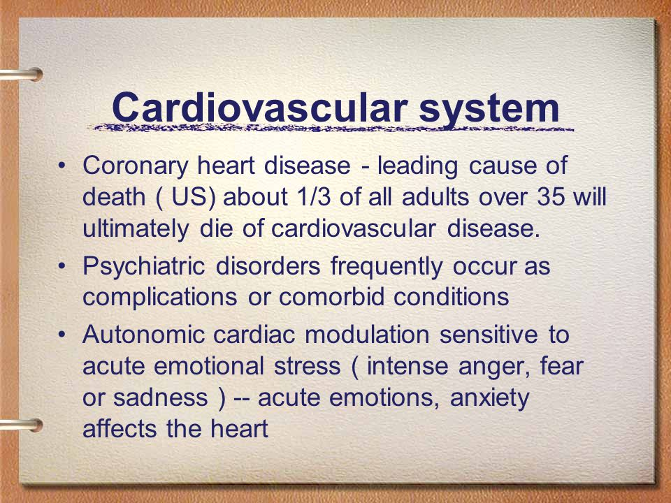 Cardiovascular system Coronary heart disease - leading cause of death ( US) about 1/3 of all adults over 35 will ultimately die of cardiovascular disease.