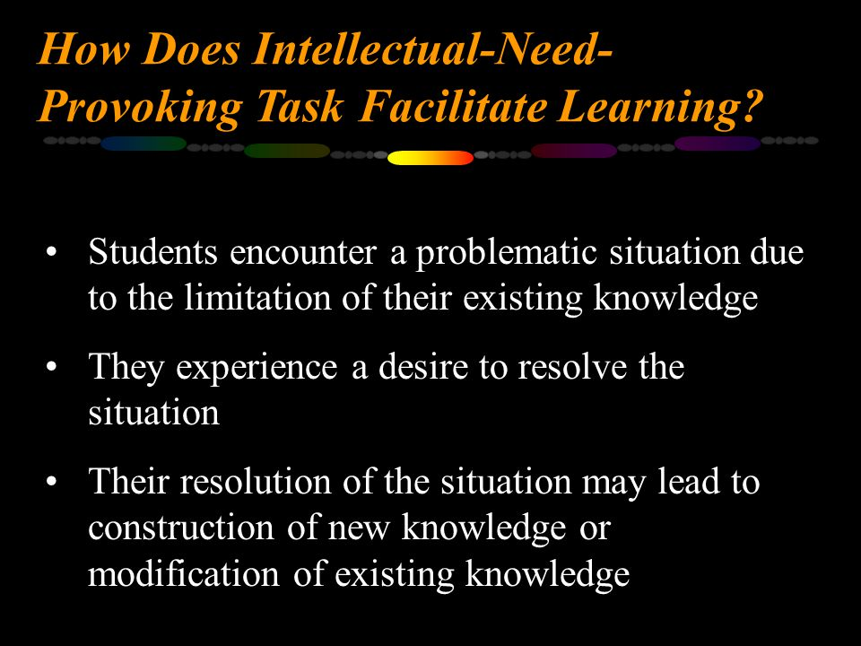How Does Intellectual-Need- Provoking Task Facilitate Learning? Students encounter a problematic situation due to the limitation of their existing kno