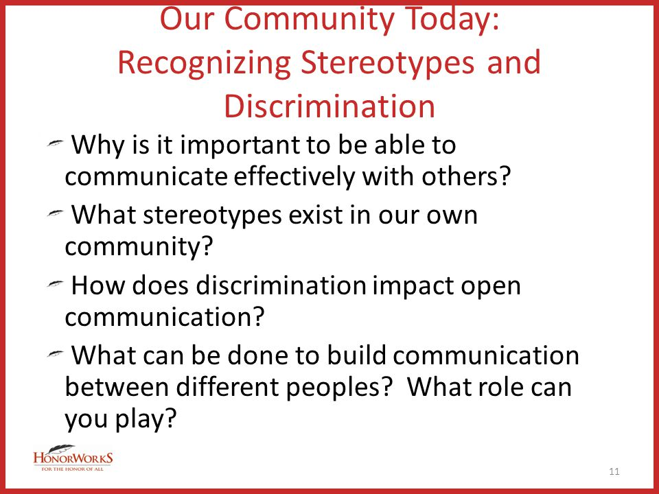Our Community Today: Recognizing Stereotypes and Discrimination Why is it important to be able to communicate effectively with others.
