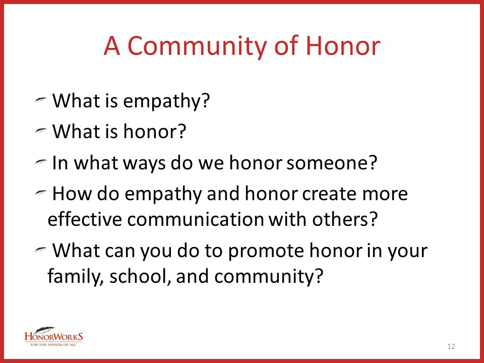 A Community of Honor What is empathy. What is honor.