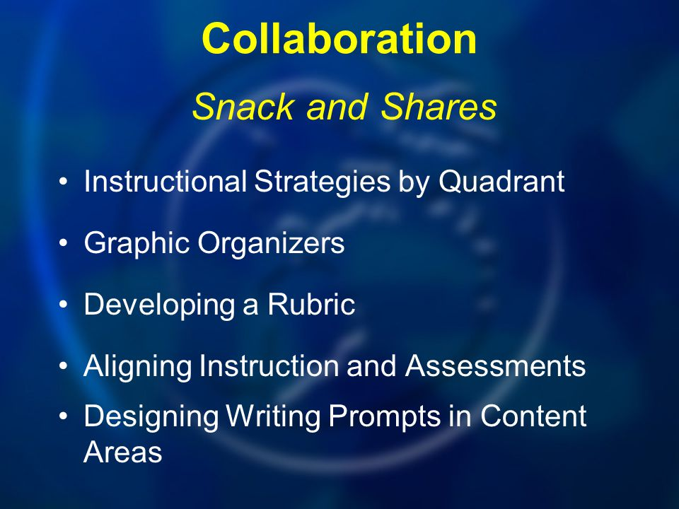 Collaboration Instructional Strategies by Quadrant Graphic Organizers Developing a Rubric Aligning Instruction and Assessments Designing Writing Promp