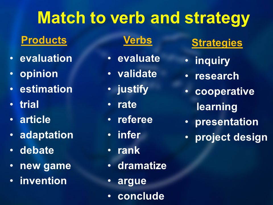 Match to verb and strategy evaluate validate justify rate referee infer rank dramatize argue conclude evaluation opinion estimation trial article adap
