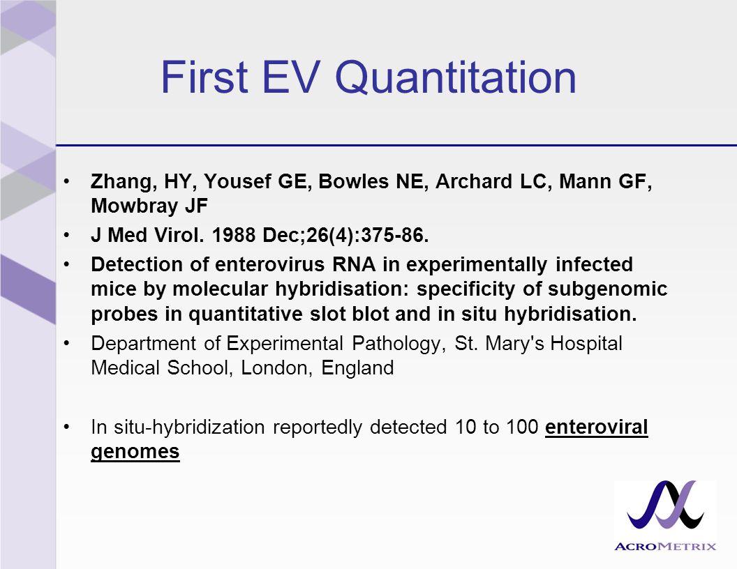 First EV Quantitation Zhang, HY, Yousef GE, Bowles NE, Archard LC, Mann GF, Mowbray JF J Med Virol.
