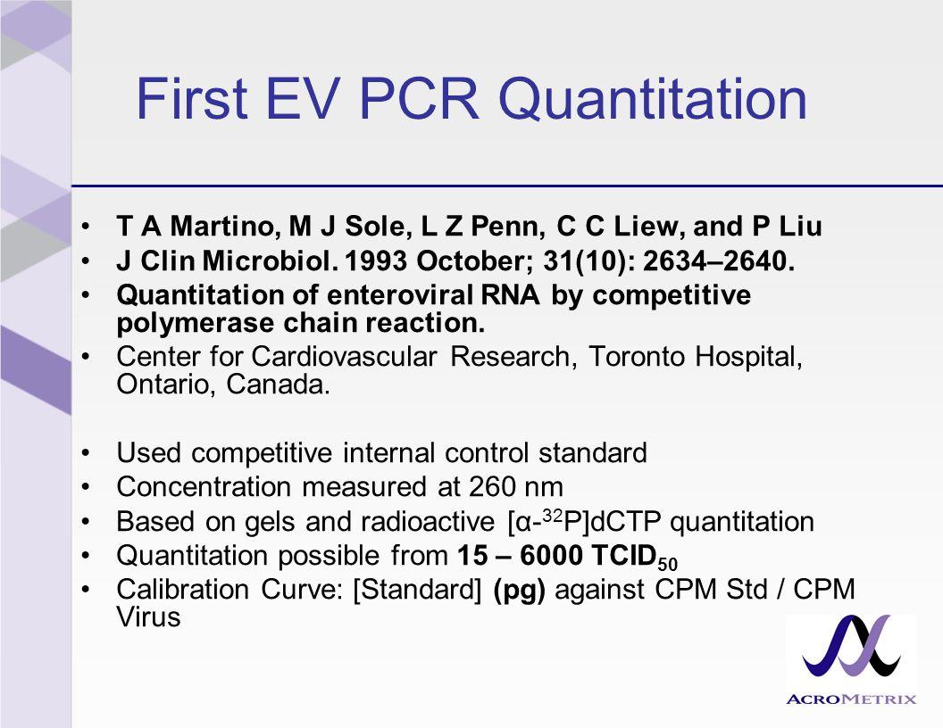 First EV PCR Quantitation T A Martino, M J Sole, L Z Penn, C C Liew, and P Liu J Clin Microbiol.