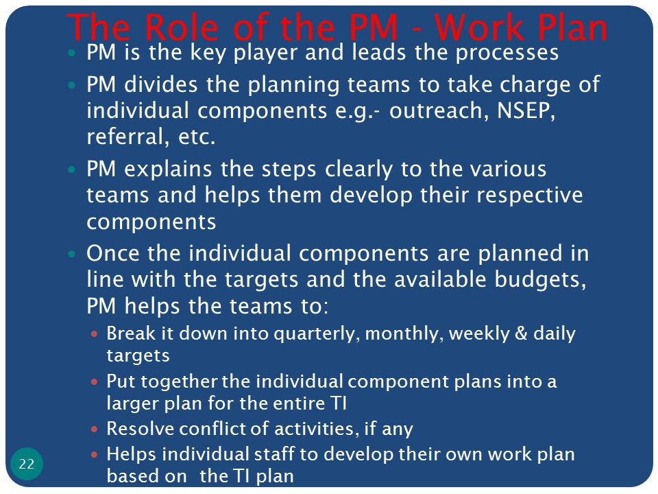 The Role of the PM - Work Plan PM is the key player and leads the processes PM divides the planning teams to take charge of individual components e.g.