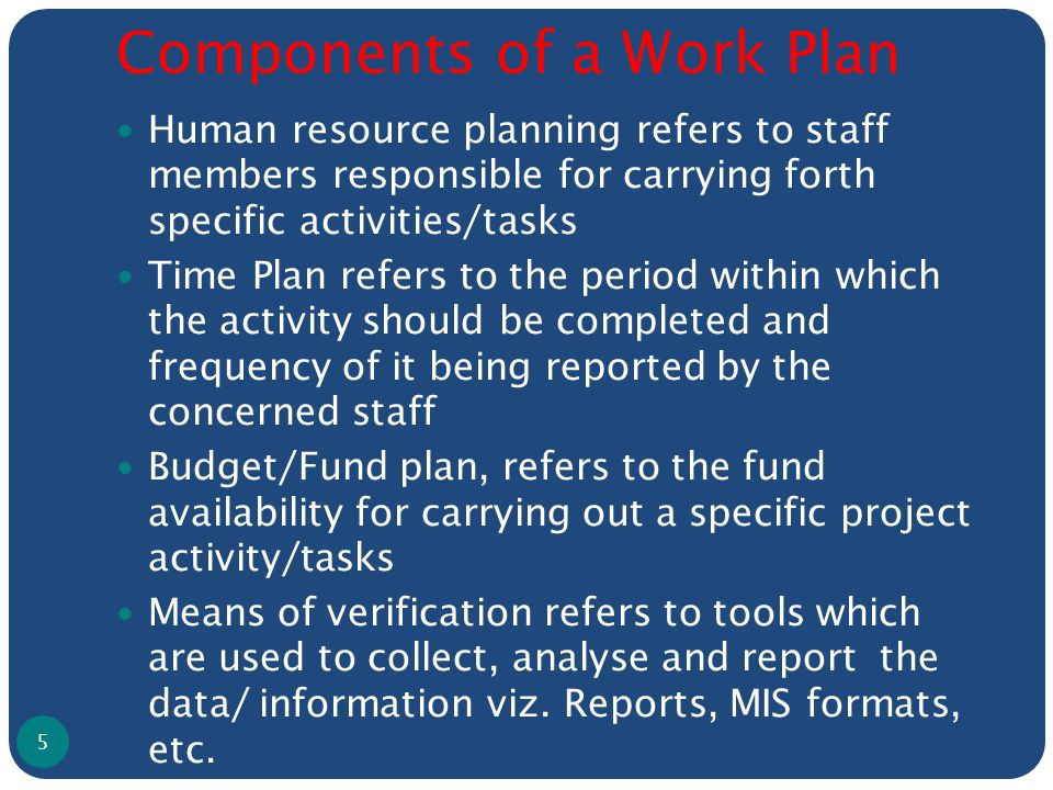 Components of a Work Plan Human resource planning refers to staff members responsible for carrying forth specific activities/tasks Time Plan refers to