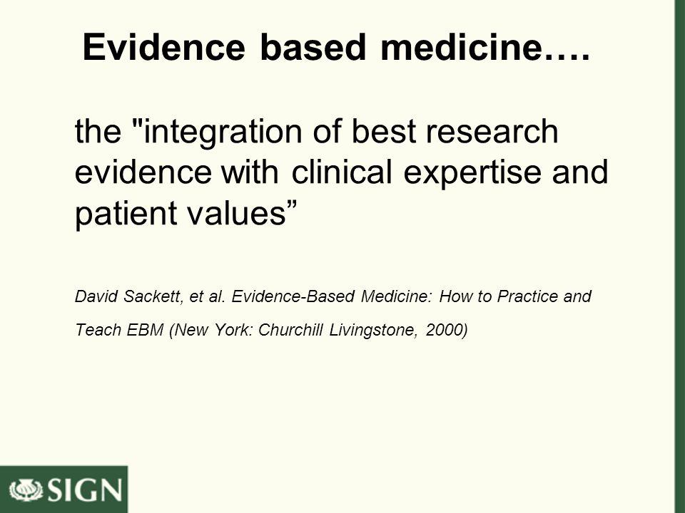 Evidence based medicine…. the
