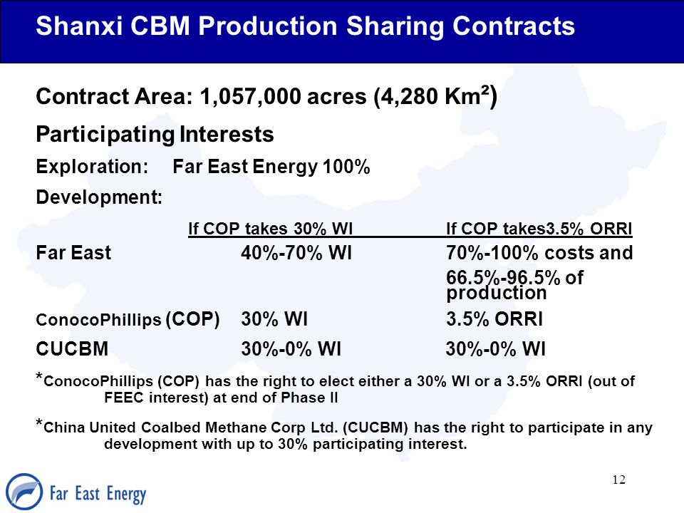 12 Shanxi CBM Production Sharing Contracts Contract Area: 1,057,000 acres (4,280 Km ²) Participating Interests Exploration: Far East Energy 100% Devel