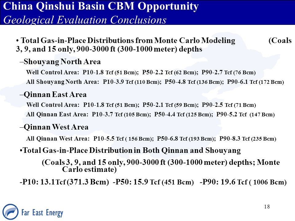 18 China Qinshui Basin CBM Opportunity Geological Evaluation Conclusions Total Gas-in-Place Distributions from Monte Carlo Modeling (Coals 3, 9, and 1