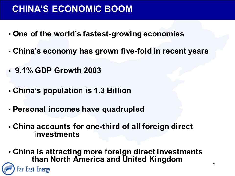 5 CHINA'S ECONOMIC BOOM  One of the world's fastest-growing economies  China's economy has grown five-fold in recent years  9.1% GDP Growth 2003 