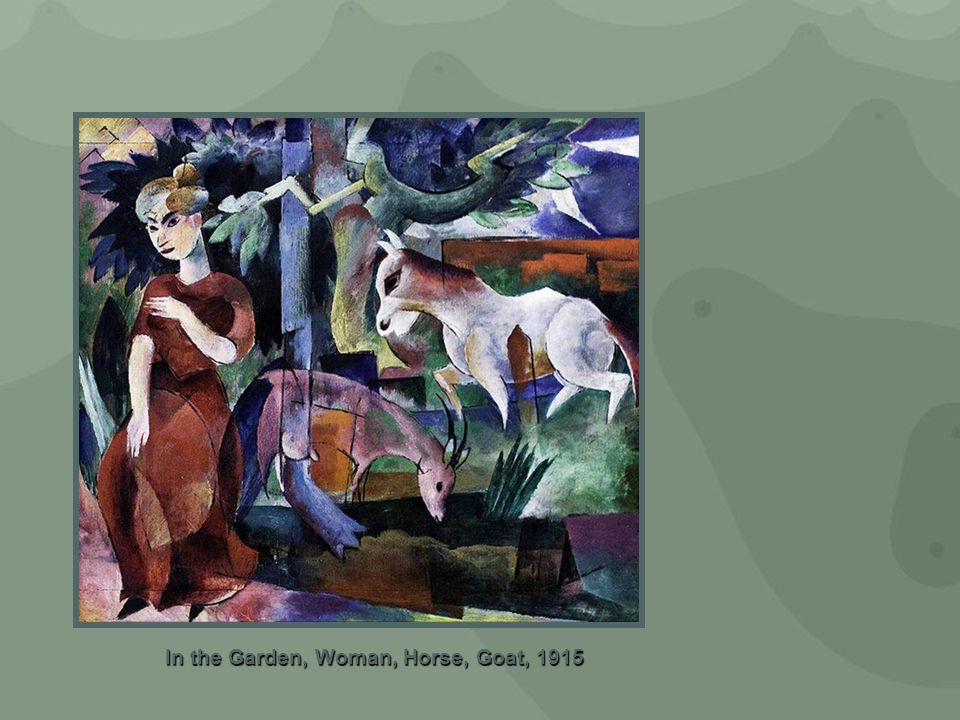 In the Garden, Woman, Horse, Goat, 1915