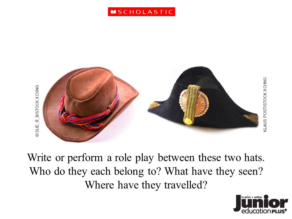 Write or perform a role play between these two hats.