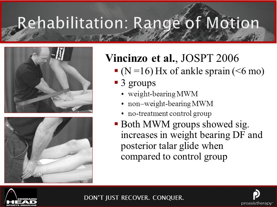 DON'T JUST RECOVER. CONQUER. Rehabilitation: Range of Motion Vincinzo et al., JOSPT 2006  (N =16) Hx of ankle sprain (<6 mo)  3 groups weight-bearin