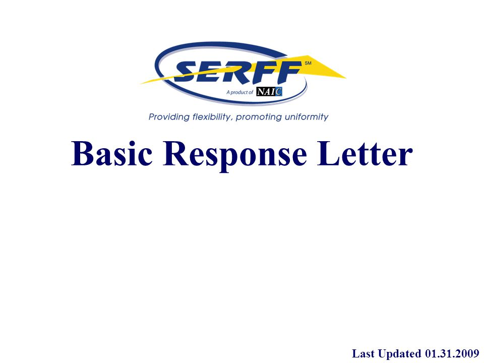 Basic Response Letter Last Updated Basic Response Letter The