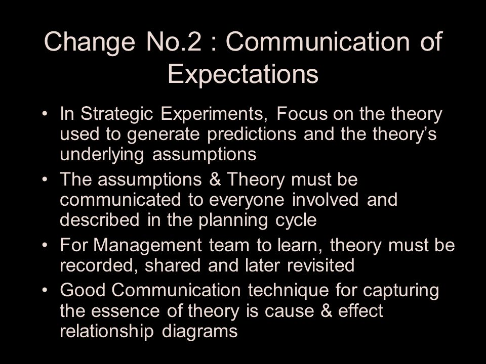 Change No.1 : Level of Detail Comparison between outcomes and prediction can isolate & resolve problems if the focus is on a small number of unknowns When there are too many unknowns, focus on critical unknowns that can make or break the business –Most Critical Market unknown –Most Critical Technology unknown –Most Critical Cost unknown