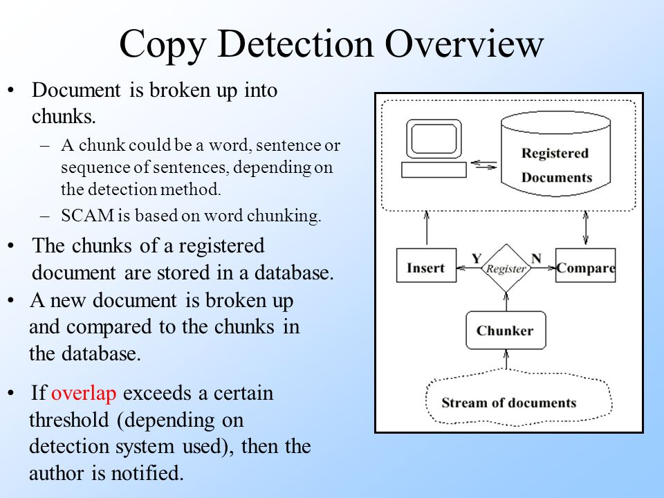Copy Detection Overview Document is broken up into chunks.