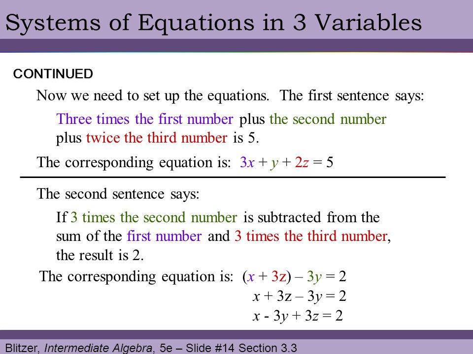 Blitzer, Intermediate Algebra, 5e – Slide #14 Section 3.3 Systems of Equations in 3 VariablesCONTINUED Three times the first number plus the second nu