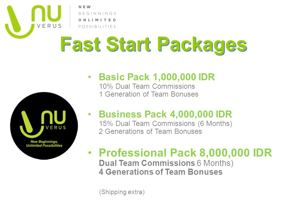 Fast Start Packages Basic Pack 1,000,000 IDR 10% Dual Team Commissions 1 Generation of Team Bonuses Business Pack 4,000,000 IDR 15% Dual Team Commissions (6 Months) 2 Generations of Team Bonuses Professional Pack 8,000,000 IDR Dual Team Commissions 6 Months) 4 Generations of Team Bonuses (Shipping extra)