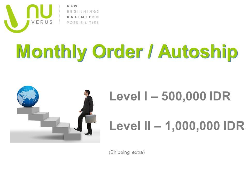 Monthly Order / Autoship Level I – 500,000 IDR Level II – 1,000,000 IDR (Shipping extra)