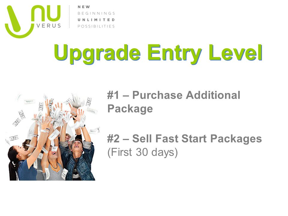 Upgrade Entry Level #1 – Purchase Additional Package #2 – Sell Fast Start Packages (First 30 days)