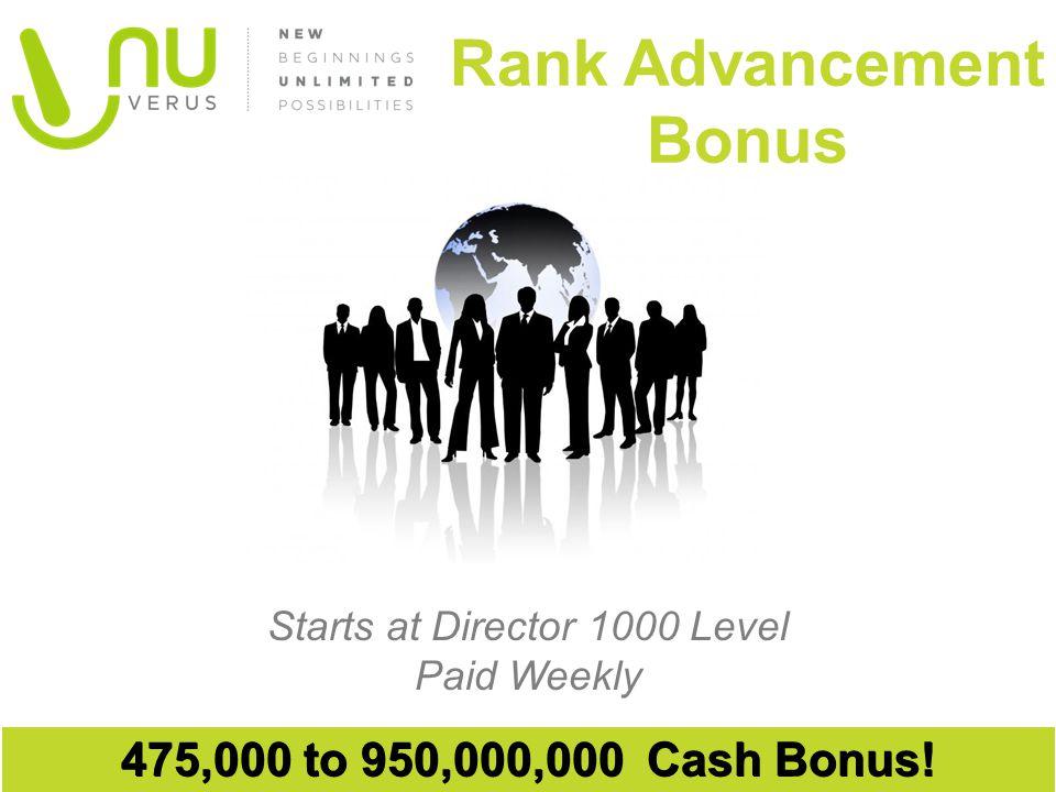 Starts at Director 1000 Level Paid Weekly Rank Advancement Bonus 475,000 to 950,000,000 Cash Bonus!