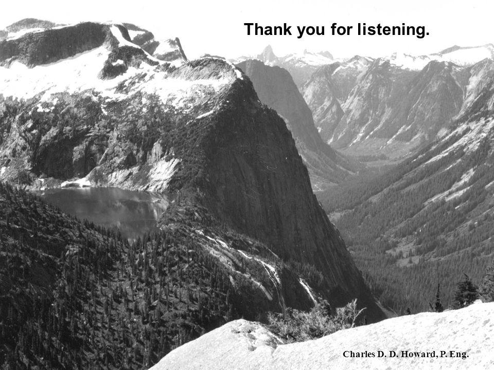 Thank you for listening Thank you for listening. Charles D. D. Howard, P. Eng.