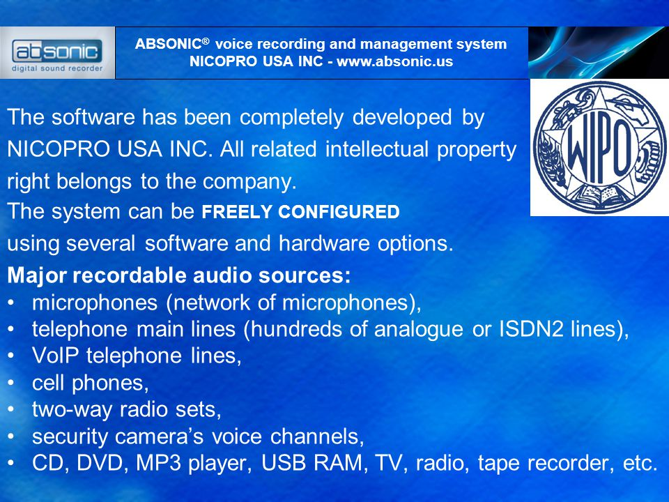 Recording and management functions Flags – time markers, overwrite and insert mode, real time listening, warning about the fact of recording, phone book – list of addresses/links,.