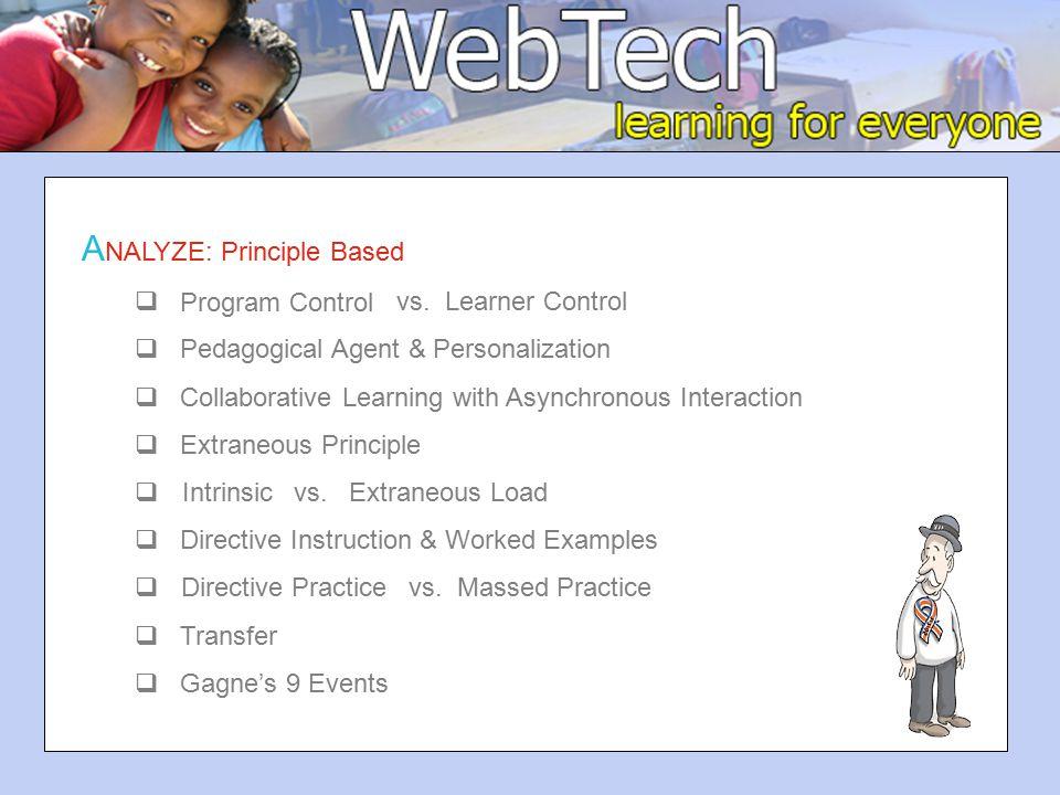 A NALYZE: Principle Based  Program Control vs.
