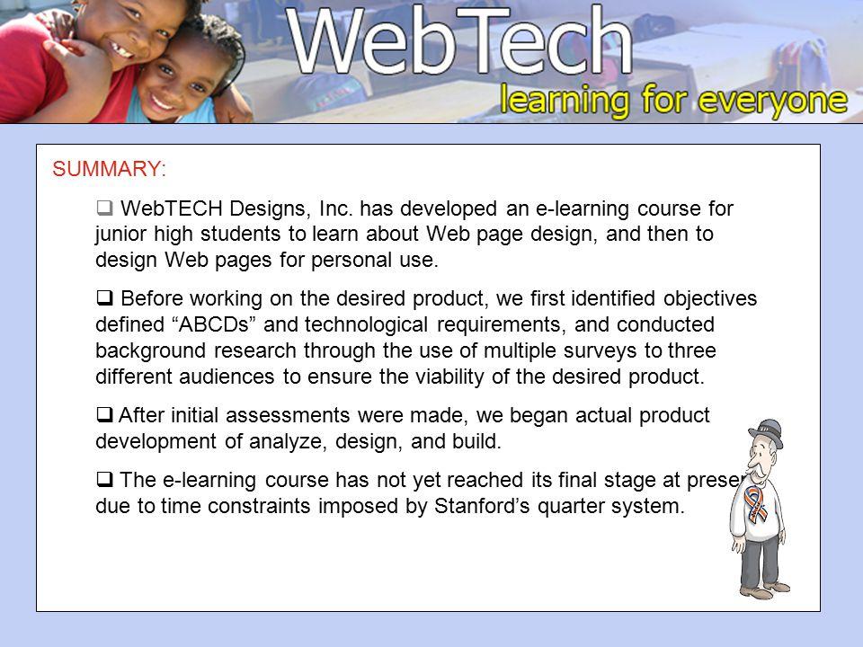 SUMMARY:  WebTECH Designs, Inc.