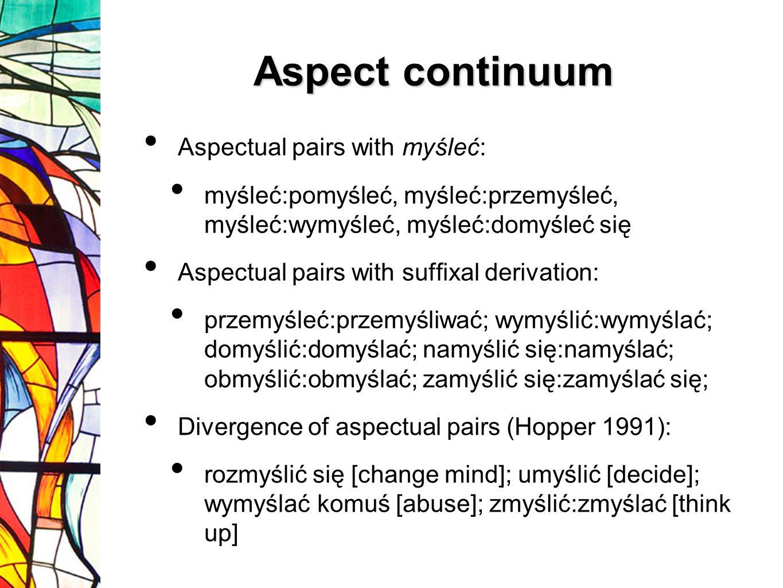 Aspectual pairs with myśleć: myśleć:pomyśleć, myśleć:przemyśleć, myśleć:wymyśleć, myśleć:domyśleć się Aspectual pairs with suffixal derivation: przemy