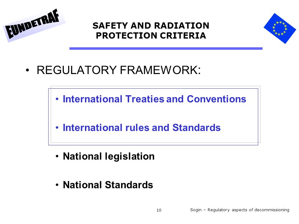 Sogin – Regulatory aspects of decommissioning 10 SAFETY AND RADIATION PROTECTION CRITERIA REGULATORY FRAMEWORK : International Treaties and Conventions International rules and Standards National legislation National Standards