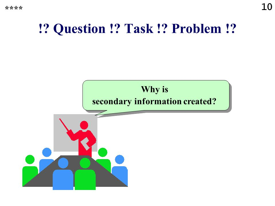 !? Question !? Task !? Problem !? Why is secondary information created? **** 10