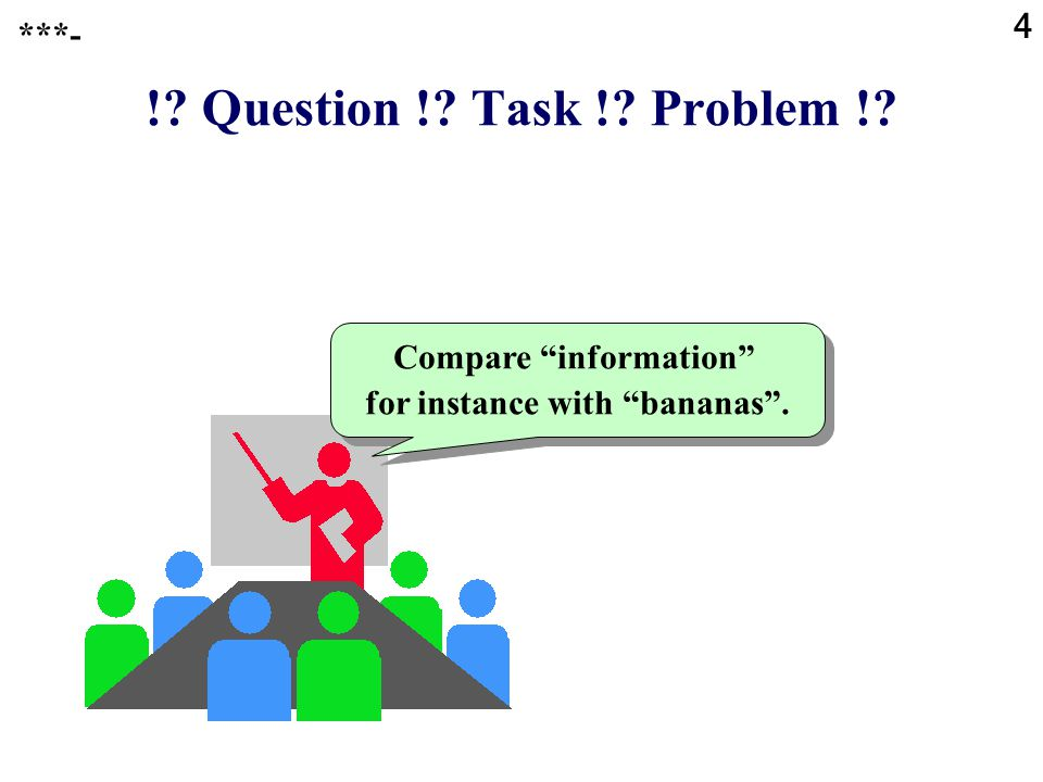 "!? Question !? Task !? Problem !? Compare ""information"" for instance with ""bananas"". ***- 4"