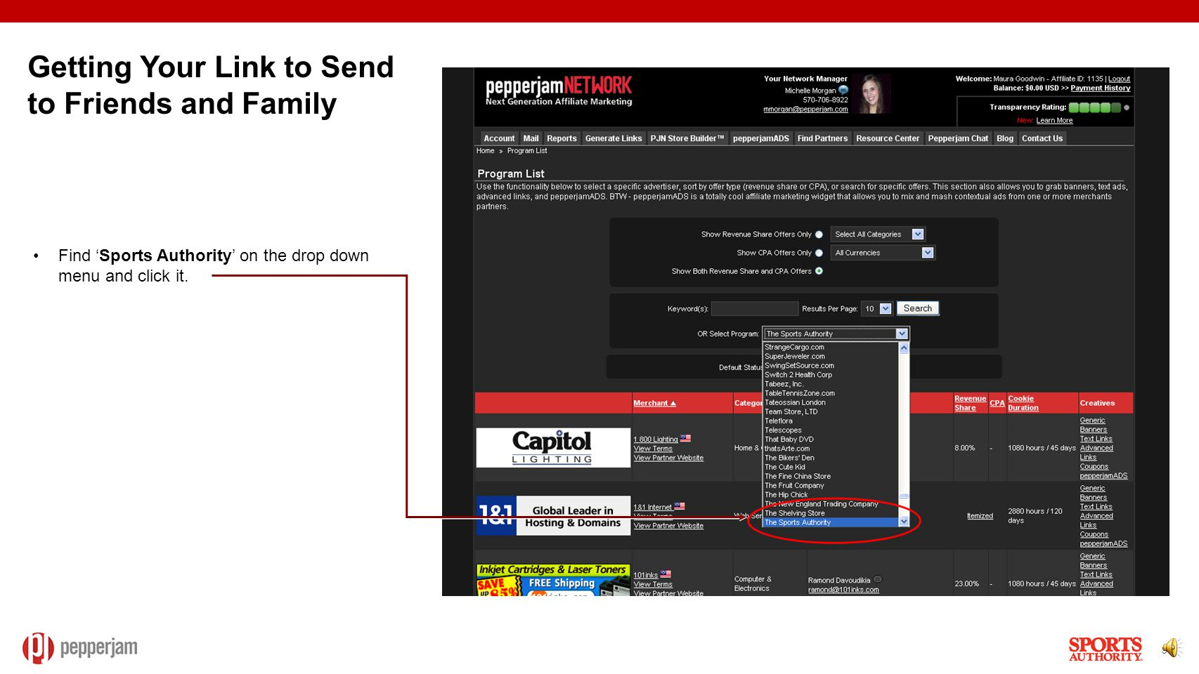8 Log into the Pepperjam interface with the email address and password you created during sign-up: http://pepperjamnetwork.com/ After logging in, go to the 'Generate Links' tab on the top of the page.