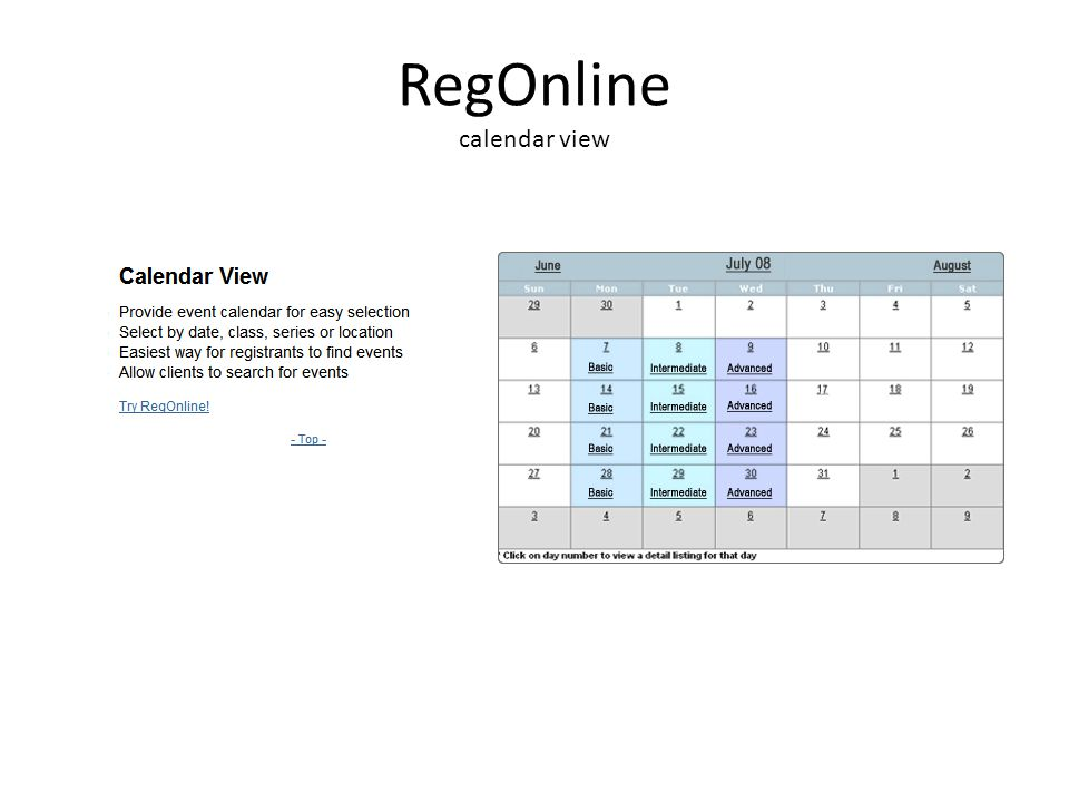 RegOnline calendar view