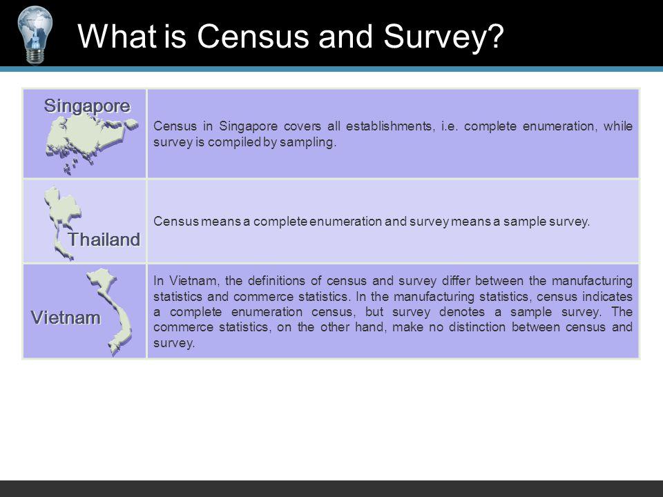 Census in Singapore covers all establishments, i.e.