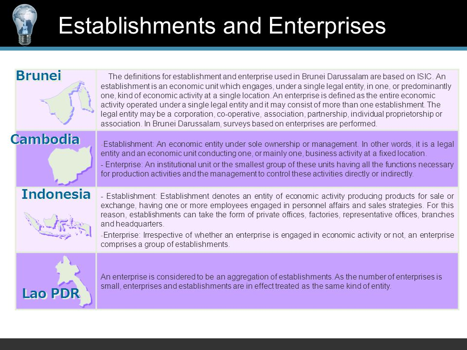 The definitions for establishment and enterprise used in Brunei Darussalam are based on ISIC.