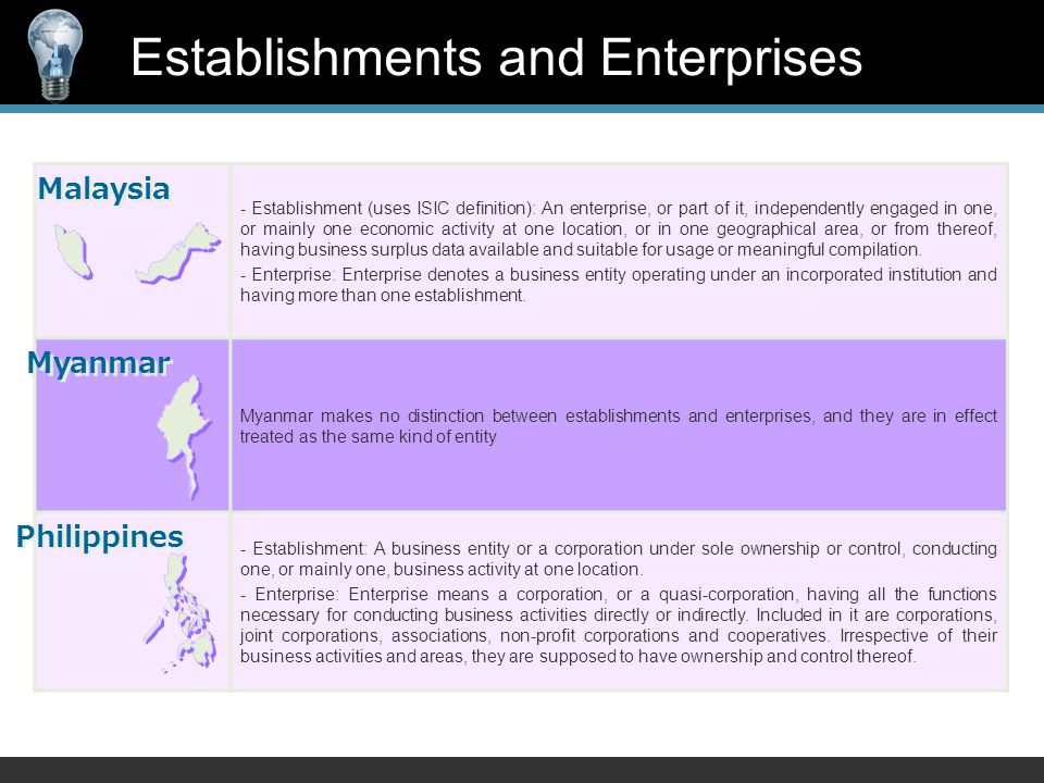 - Establishment (uses ISIC definition): An enterprise, or part of it, independently engaged in one, or mainly one economic activity at one location, or in one geographical area, or from thereof, having business surplus data available and suitable for usage or meaningful compilation.