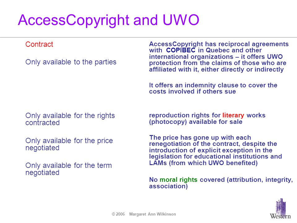 © 2006 Margaret Ann Wilkinson AccessCopyright and UWO Contract Only available to the parties Only available for the rights contracted Only available f