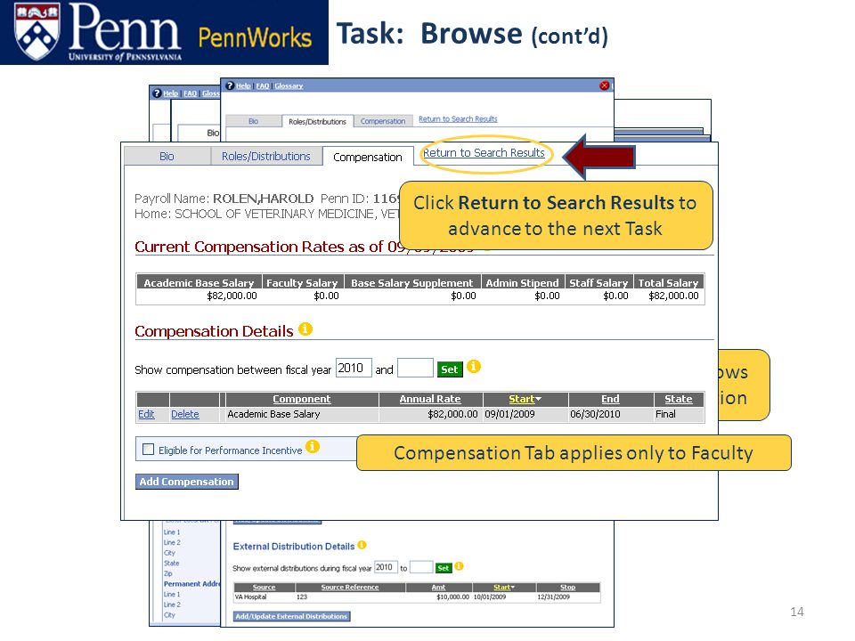 14 Browse Bio information Use the Tabs to Browse either Roles/Distributions or Compensation Use the Roles/Distributions Tab to access a variety of Role and Distribution Tasks For example, View Role Details allows you to view detailed Role information Role Details Distribution Details Compensation Tab applies only to Faculty Click Return to Search Results to advance to the next Task Task: Browse (cont'd)