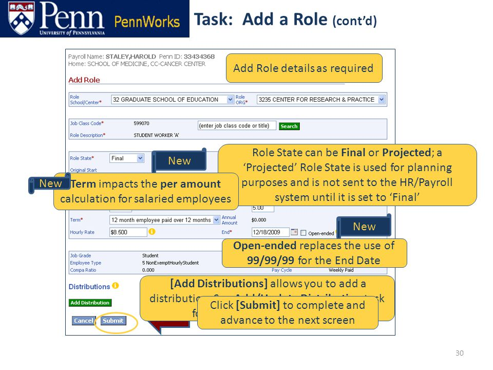 30 Add Role details as required New [Add Distributions] allows you to add a distribution.
