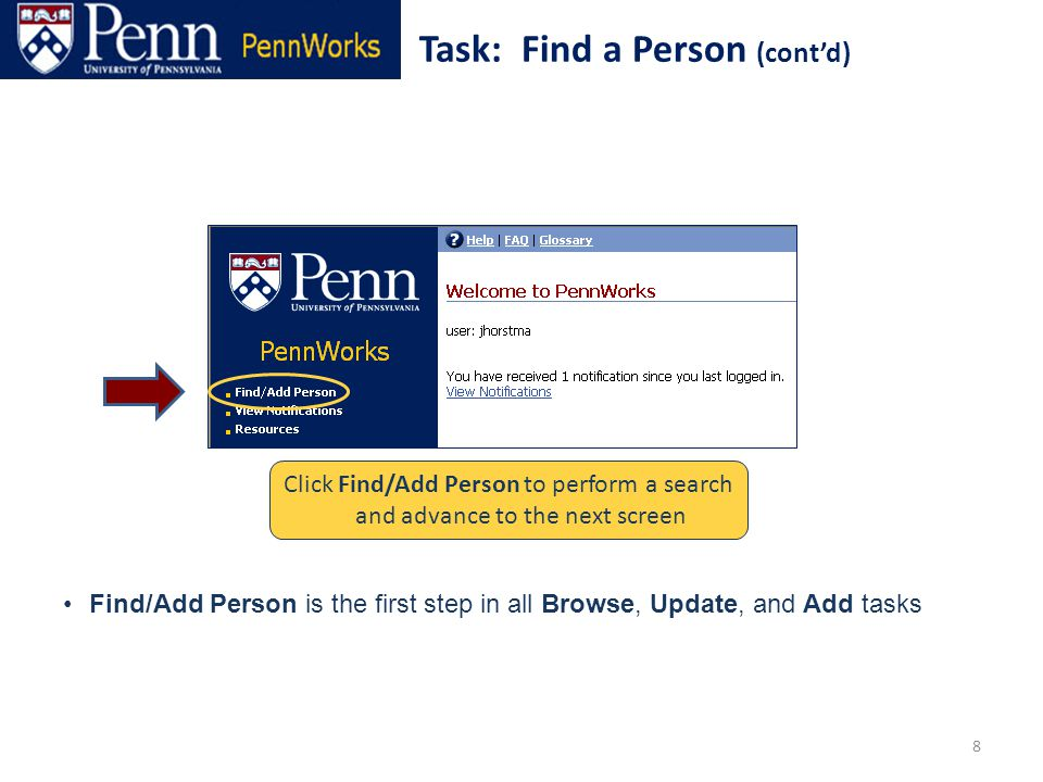 39 Upon completion, finalize the Add Person process Task: Add a Person (cont'd) Click on [Submit] to finalize and advance to the next Task